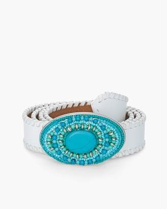 Chico's Chicos White and Faux-Turquoise Belt