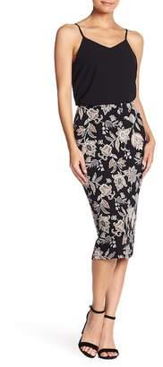 Bobeau Knit Midi Pencil Skirt