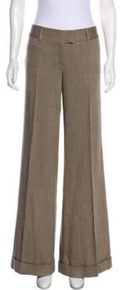 Diane von Furstenberg Mid-Rise Wool Pants Brown Mid-Rise Wool Pants