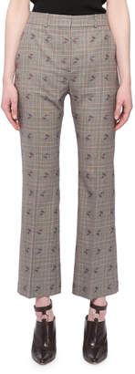 Altuzarra Flared-Leg Cropped Check Floral-Print Wool-Blend Pants