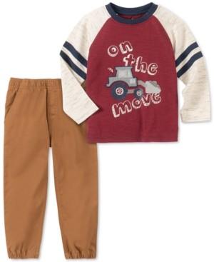 Kids Headquarters Toddler Boys 2-Pc. On The Move Colorblocked Bulldozer Applique T-Shirt & Twill Jogger Pants Set