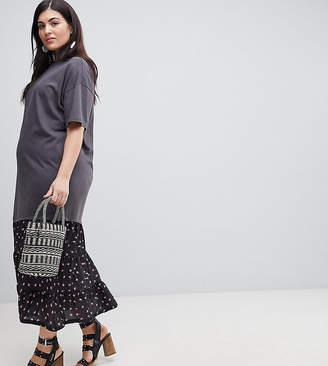 Asos Oil Wash T-Shirt Maxi Dress With Woven Hem