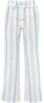 Melissa Odabash Krissy Striped Cotton-gauze Pants - Blue