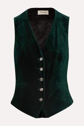 Temperley London Clove Satin-paneled Velvet Vest - Dark green