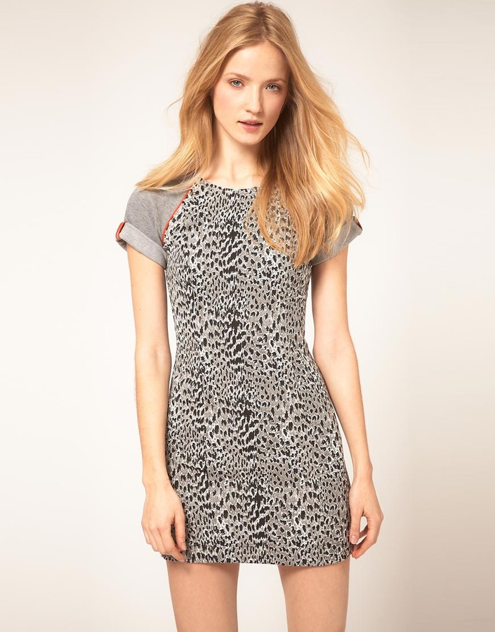 French Connection Dress With Leopard Print Body