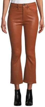Rag & Bone Hana High-Rise Cropped Flare-Leg Leather Pants