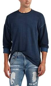 Barneys New York MEN'S GARMENT-WASHED LONG-SLEEVE T-SHIRT - BLUE SIZE XL