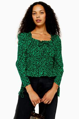 Topshop Womens Petite Vancouver Leopard Ruched Prairie Blouse - Green