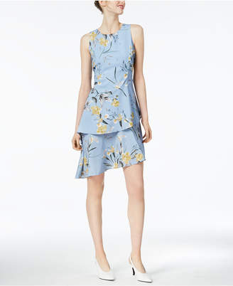 Bar III Printed Asymmetrical Ruffle Dress, Created for Macy's