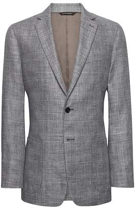 Banana Republic Slim Gray Plaid Linen Suit Jacket