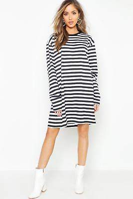boohoo NEW Womens Cotton Long Sleeve Stripe T-Shirt Dress in Polyester