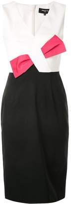 Paule Ka contrast bow fitted dress