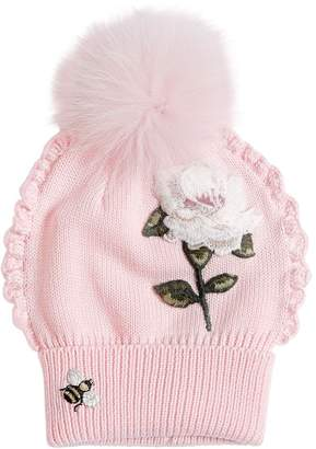3dab9378f40 MonnaLisa Rose Patch Wool Knit Hat W  Fur Pompom