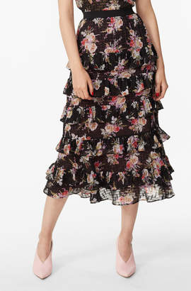 Rebecca Taylor Bouquet Floral Tiered Ruffle Skirt