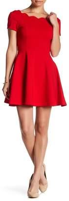 Love...Ady Cap Sleeve Scallop Trim Fit & Flare Dress