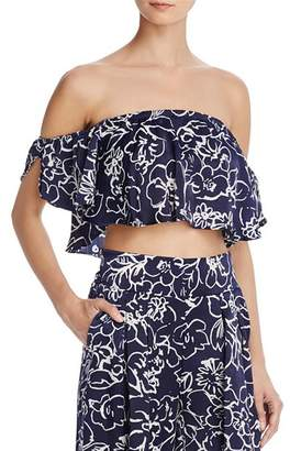 MISA Los Angeles Lunna Off-the-Shoulder Satin Crop Top