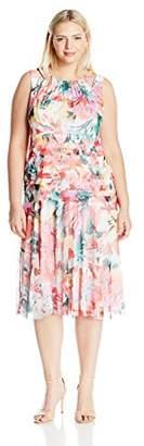 London Times Women's Sleeveless Round Neck Midi Fit and Flare Dress w. Drop Waist