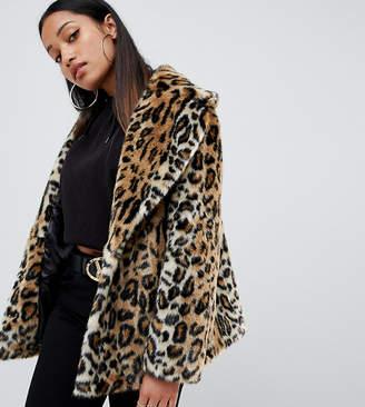 Asos DESIGN Petite animal faux fur coat