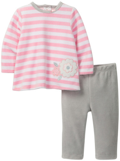 Offspring Velour Flower Tunic & Legging Set (Baby Girls 3-9M)