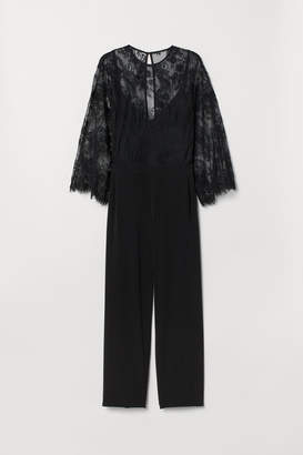 H&M H&M+ Jumpsuit with Lace - Black