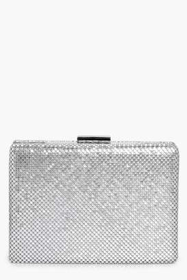 boohoo Alisha Chainmail Box Clutch Bag silver