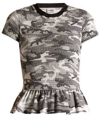 Balenciaga Round Neck Camouflage Print Wool T Shirt - Womens - Grey Multi