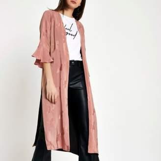 River Island Womens Pink bird jacquard duster coat