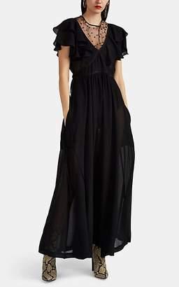 Philosophy di Lorenzo Serafini Women's Ruffle Tulle-Inset Double Crepon Maxi Dress - Black