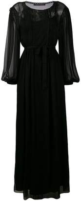 Alberta Ferretti belted sheer long dress