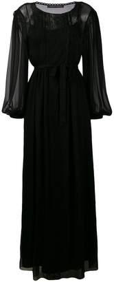 Alberta Ferretti belted sheer long dress