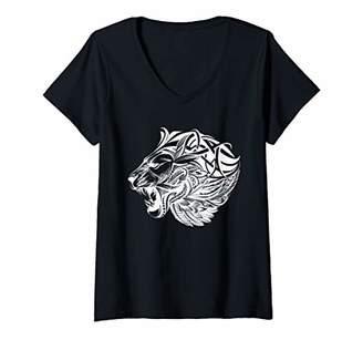 Womens Lion growling lions tribal animal print design V-Neck T-Shirt