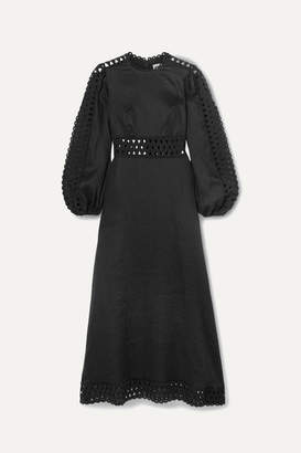 Zimmermann Verity Broderie Anglaise-trimmed Linen Midi Dress - Black