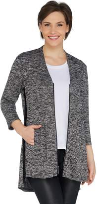 Halston H By H by Knit Zip Front Cardigan with Side Slits
