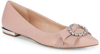 Karl Lagerfeld Paris Bow Leather Ballet Flat