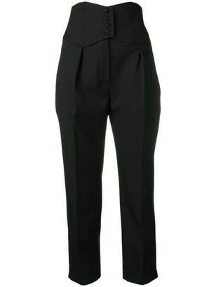 Saint Laurent High Waisted Tuxedo Crop Fitted Pants