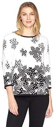 Alfred Dunner Women's Floral Dot Border Sweater