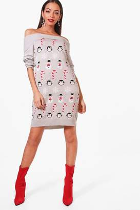 boohoo Bardot Christmas Jumper Dress