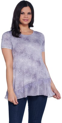 Logo By Lori Goldstein LOGO by Lori Goldstein Printed Short Sleeve Top w/ Lace & Hem Dtl