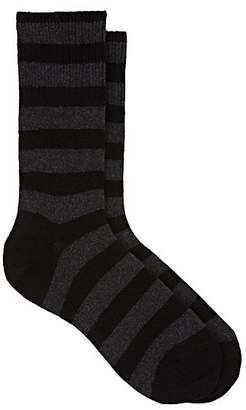 Barneys New York MEN'S THICK-STRIPED COTTON-BLEND MID-CALF SOCKS - BLACK