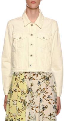Off-White Embroidered Denim Crop Jacket