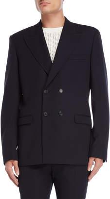 Sandro Navy Double-Breasted Jacket