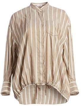 Brunello Cucinelli Women's Striped Silk Button-Down Blouse - Tabacco Bianco - Size Small
