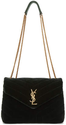 Saint Laurent Green Small Loulou Velvet Chain Bag