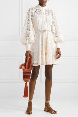 Zimmermann Amari Guipure Lace Mini Dress - Off-white
