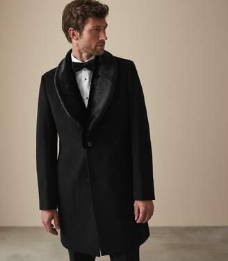 Reiss Our last order date for Christmas has now passed HUDSON FAUX FUR SHAWL COLLAR OVERCOAT Black