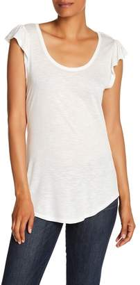 Bobeau Ruffle Sleeve Scoop Neck Tee