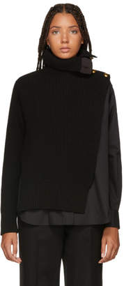 Sacai Black Shirt Panel Turtleneck