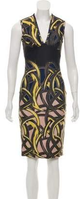 Yigal Azrouel Printed V-Neck Dress