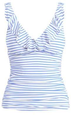 Ralph Lauren Ruffled Striped Tankini White/Blue 6