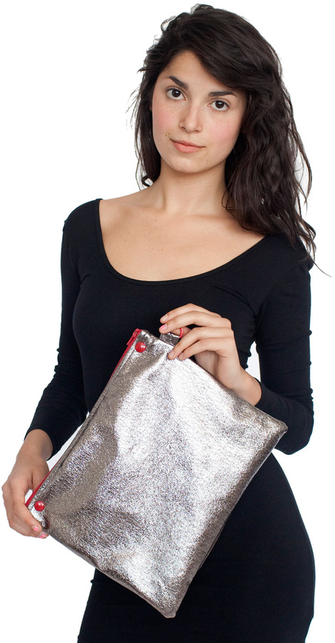 American Apparel Watery Faux Leather Snap Clutch